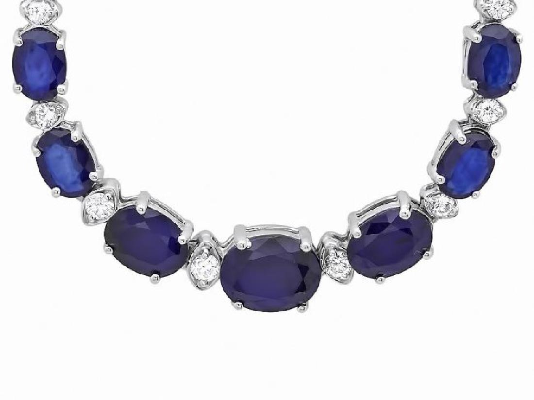 14k Gold 30ct Sapphire 1.35ct Diamond Necklace - 3