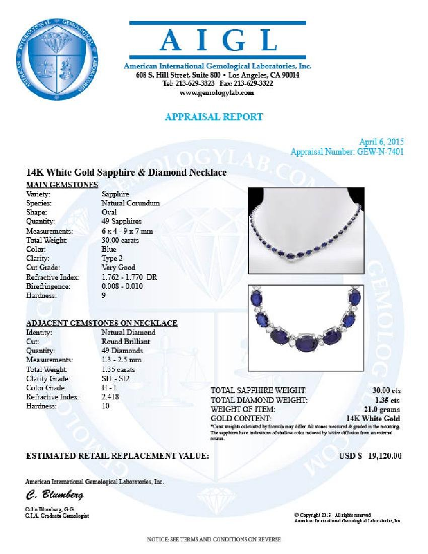 14k Gold 30ct Sapphire 1.35ct Diamond Necklace - 7