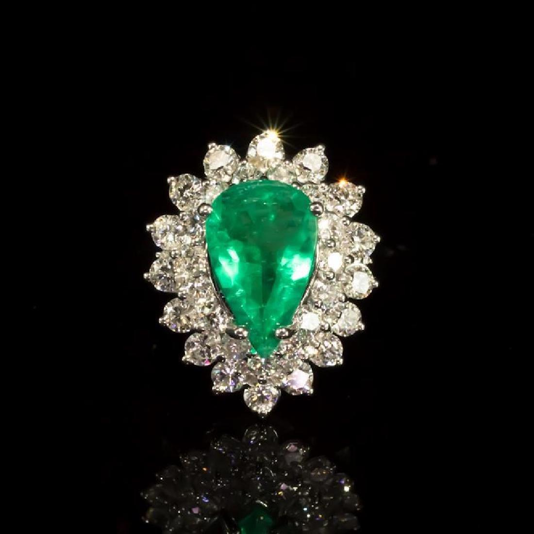 14K Gold 2.05ct Emerald 1.70ct Diamond Ring