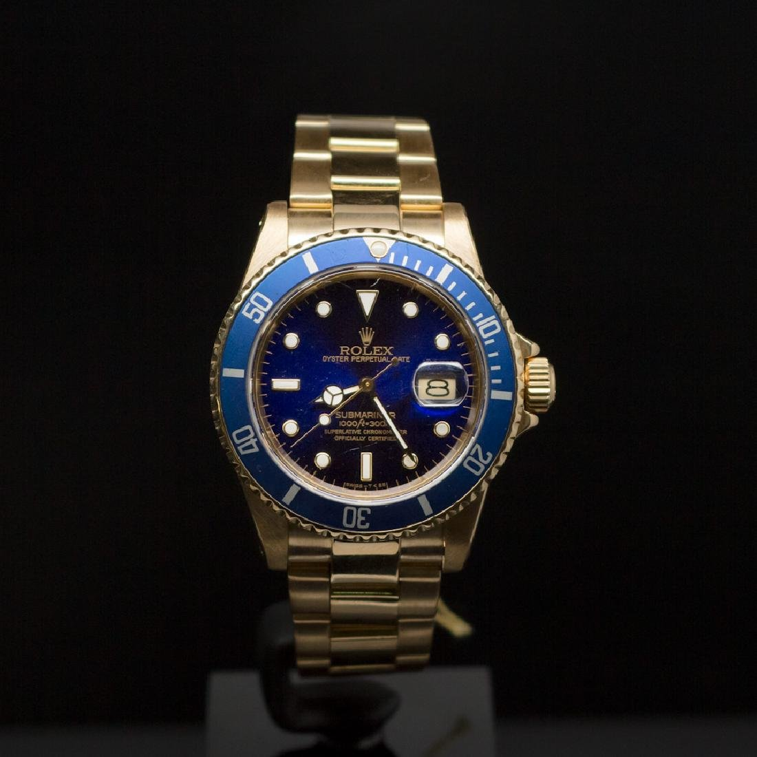 Rolex 18K Gold Submariner 40mm Blue Dial Men's