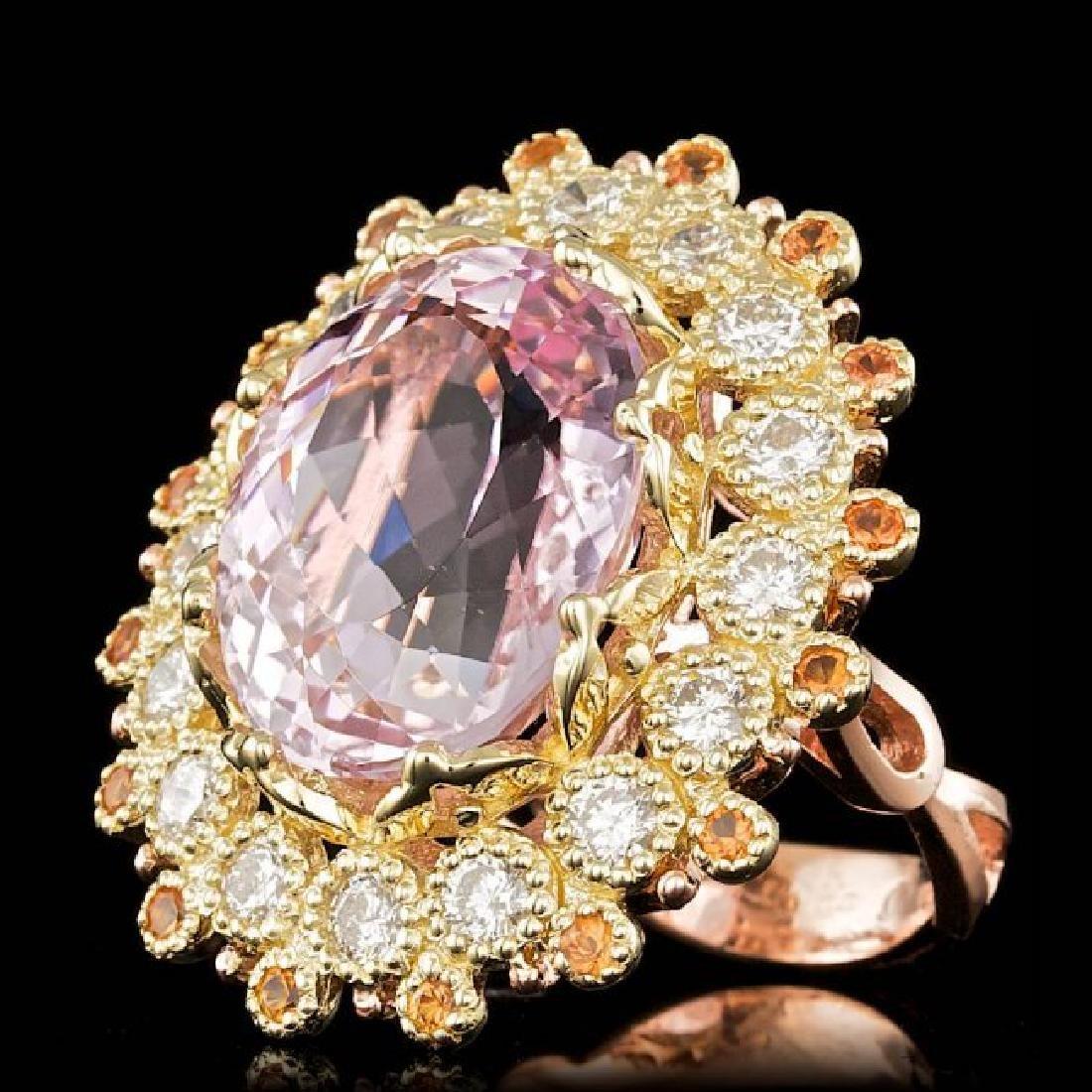 14k Gold 16.50ct Kunzite 1.80ct Diamond Ring - 2