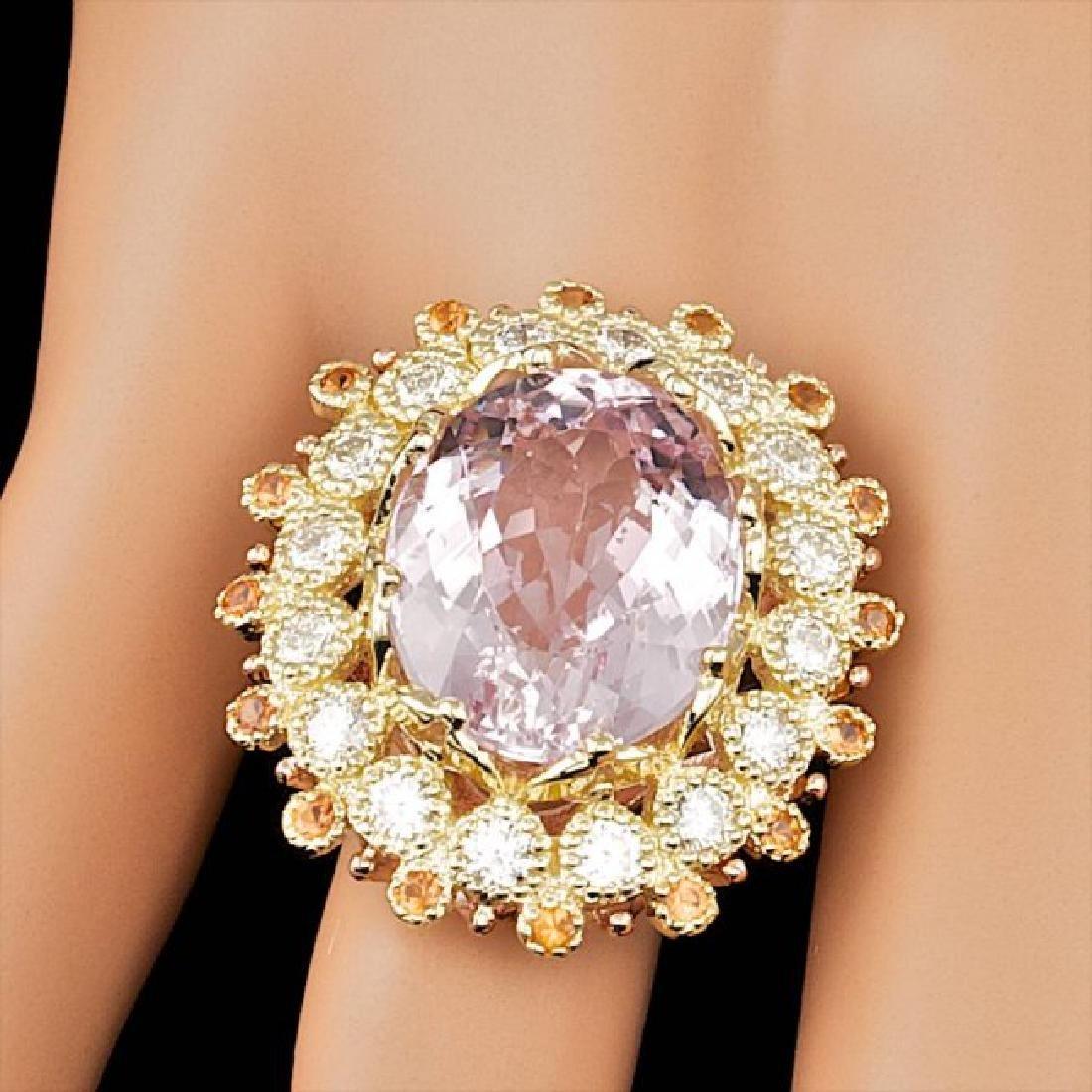 14k Gold 16.50ct Kunzite 1.80ct Diamond Ring - 3