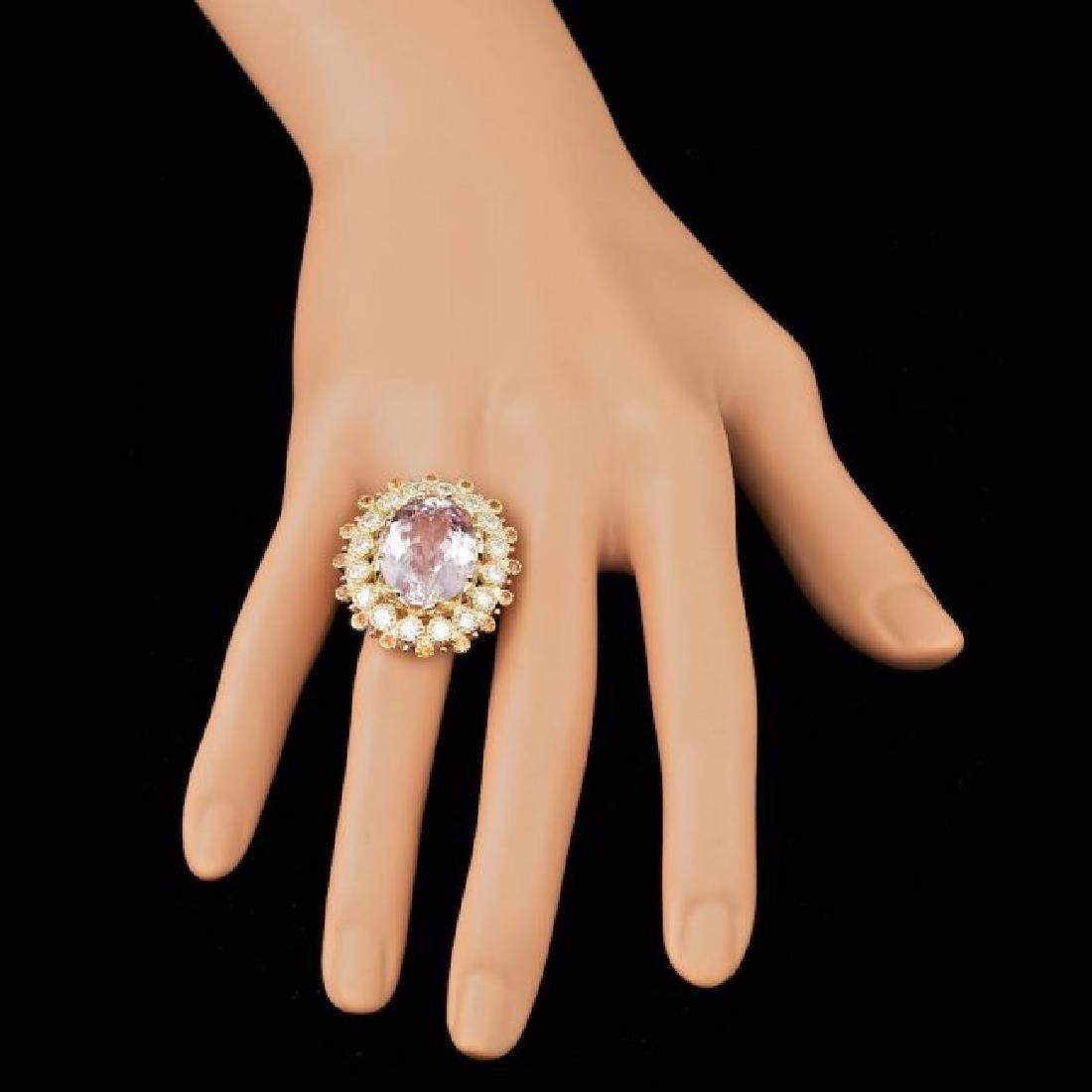 14k Gold 16.50ct Kunzite 1.80ct Diamond Ring - 4
