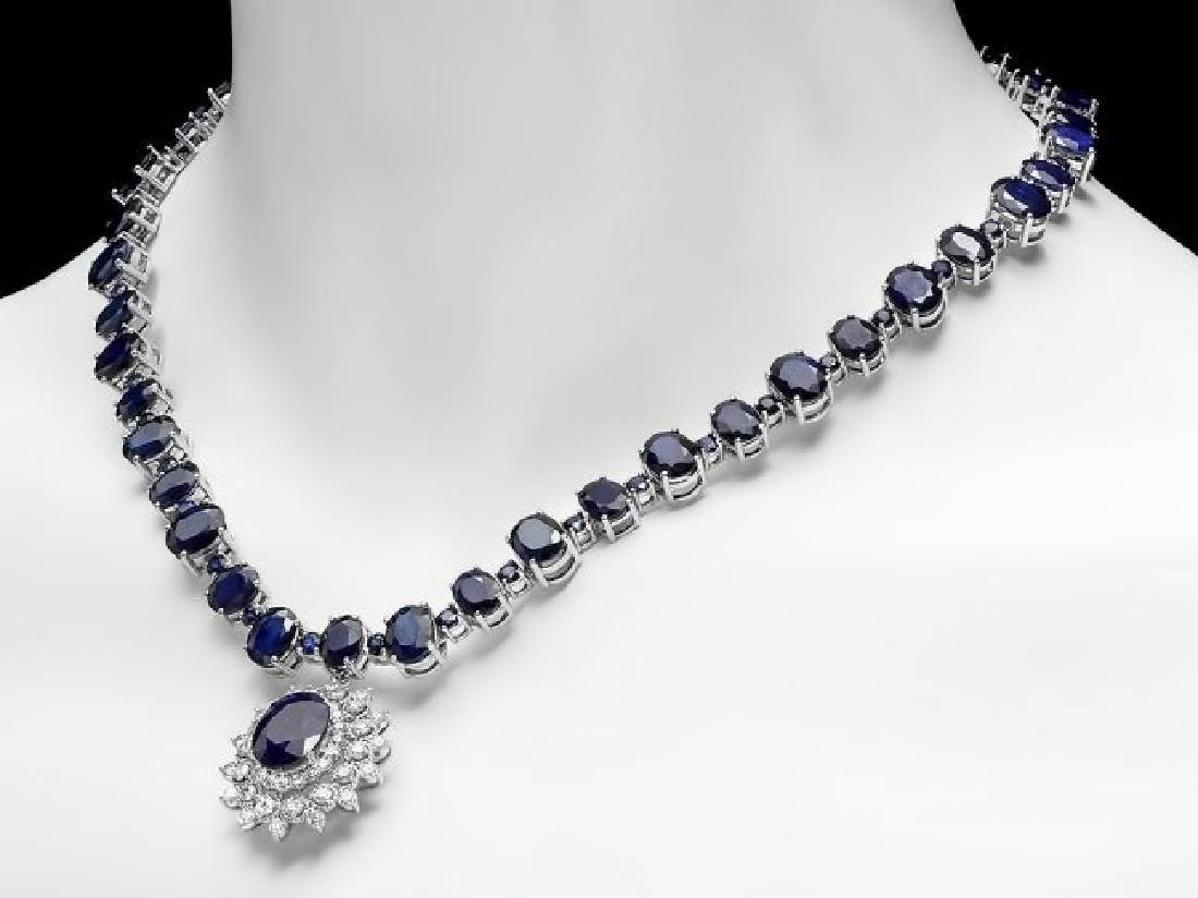 14k Gold 87ct Sapphire 2.50ct Diamond Necklace - 3