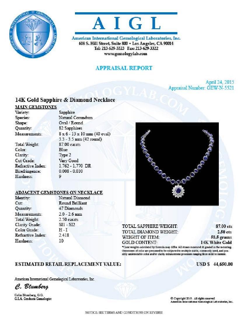 14k Gold 87ct Sapphire 2.50ct Diamond Necklace - 6