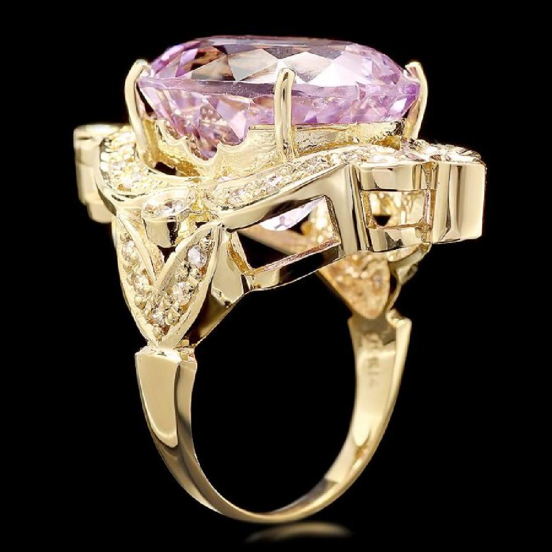 14k Gold 20ct Morganite 0.75ct Diamond Ring - 2