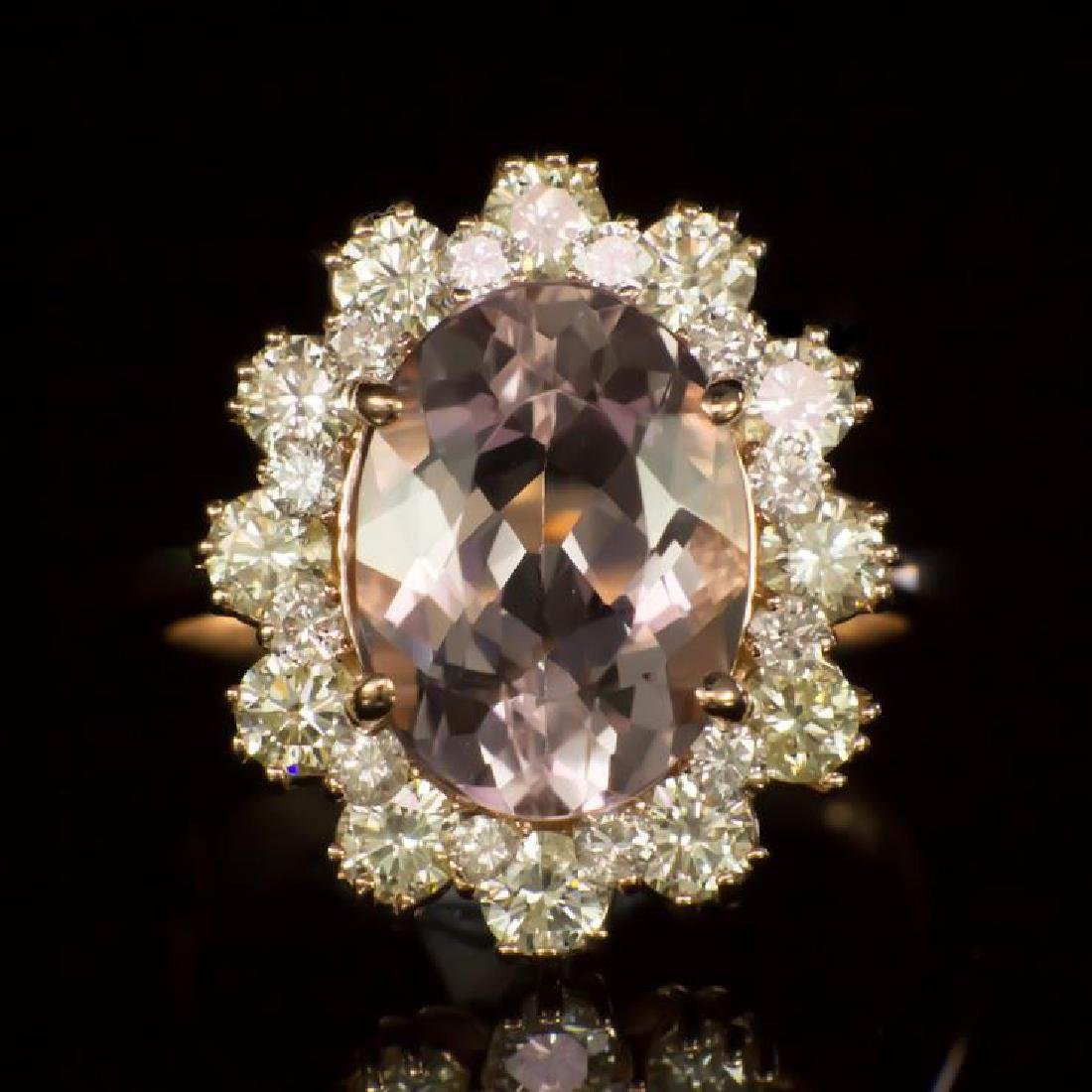 14K Gold 3.53ct Morganite 1.45ct Diamond Ring