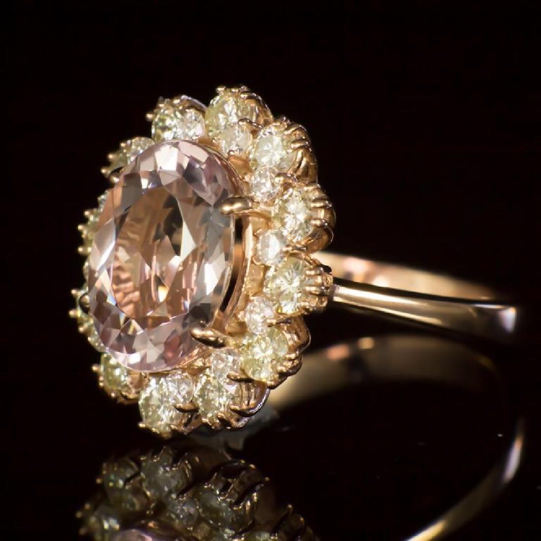 14K Gold 3.53ct Morganite 1.45ct Diamond Ring - 2