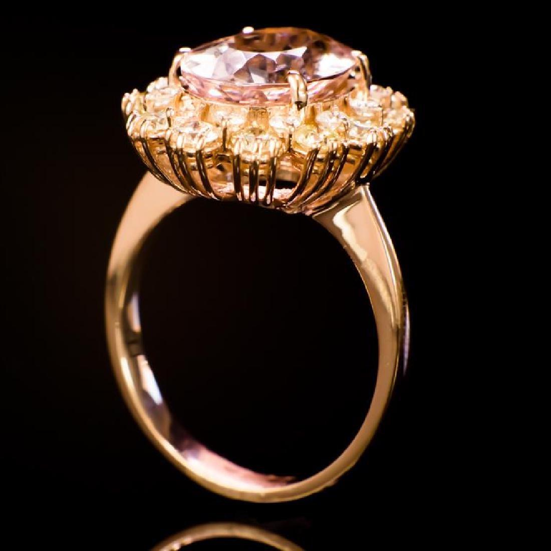 14K Gold 3.53ct Morganite 1.45ct Diamond Ring - 3