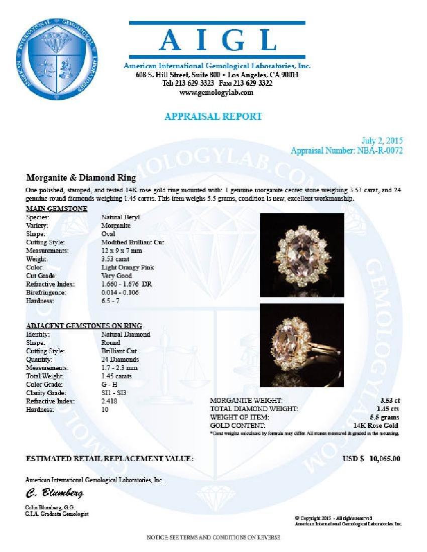 14K Gold 3.53ct Morganite 1.45ct Diamond Ring - 4