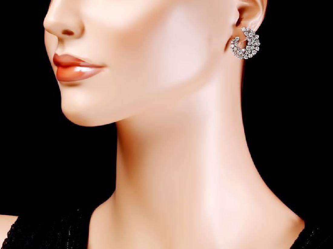 14k White Gold 4.40ct Diamond Earrings - 4