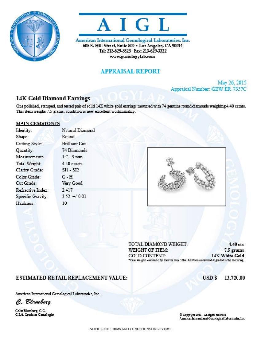 14k White Gold 4.40ct Diamond Earrings - 5