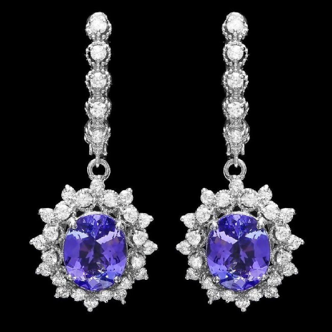 14k Gold 4.50ct Tanzanite 1.70ct Diamond Earrings