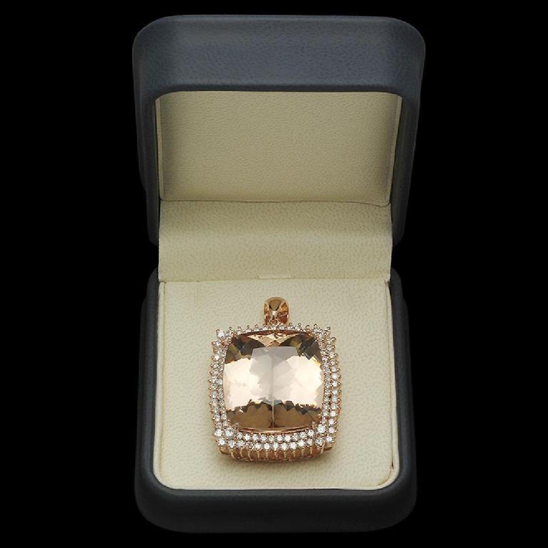 14K Gold 57.18ct Morganite 4.17ct Diamond Pendant - 2