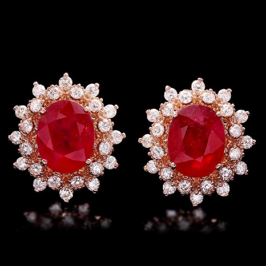 14k Rose Gold 8.00ct Ruby 1.30ct Diamond Earrings