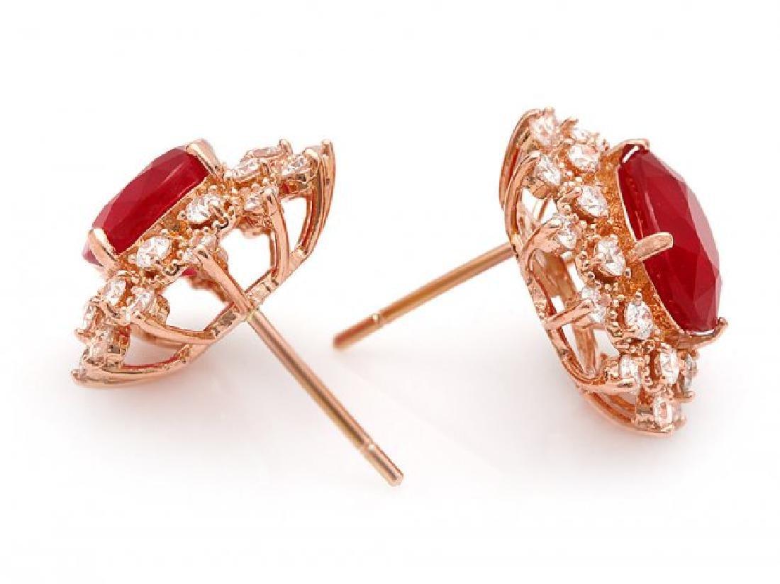 14k Rose Gold 8.00ct Ruby 1.30ct Diamond Earrings - 2