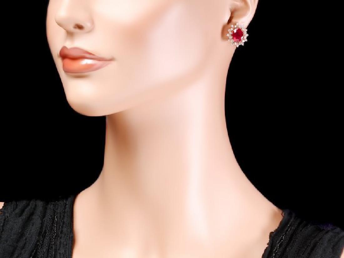 14k Rose Gold 8.00ct Ruby 1.30ct Diamond Earrings - 4