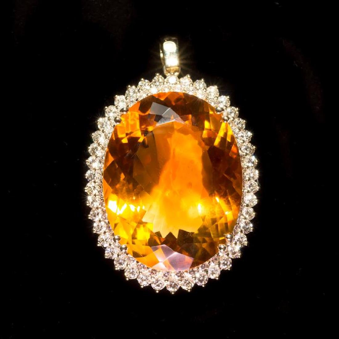 14K Gold 48.56ct Citrine 3.12ct Diamond Pendant