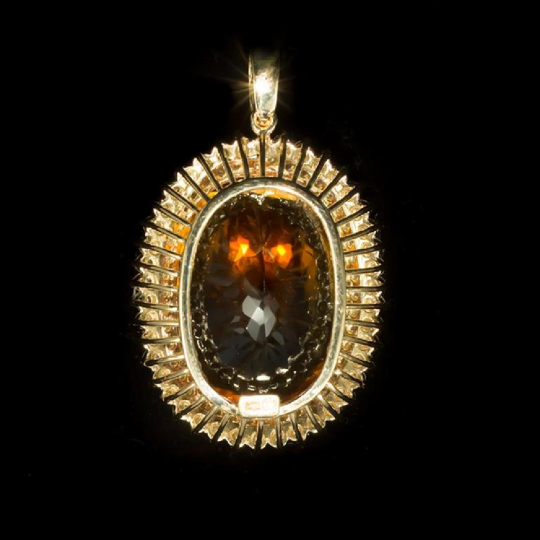 14K Gold 48.56ct Citrine 3.12ct Diamond Pendant - 2
