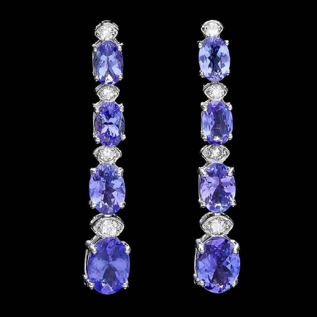 14k Gold 5ct Tanzanite 0.35ct Diamond Earrings