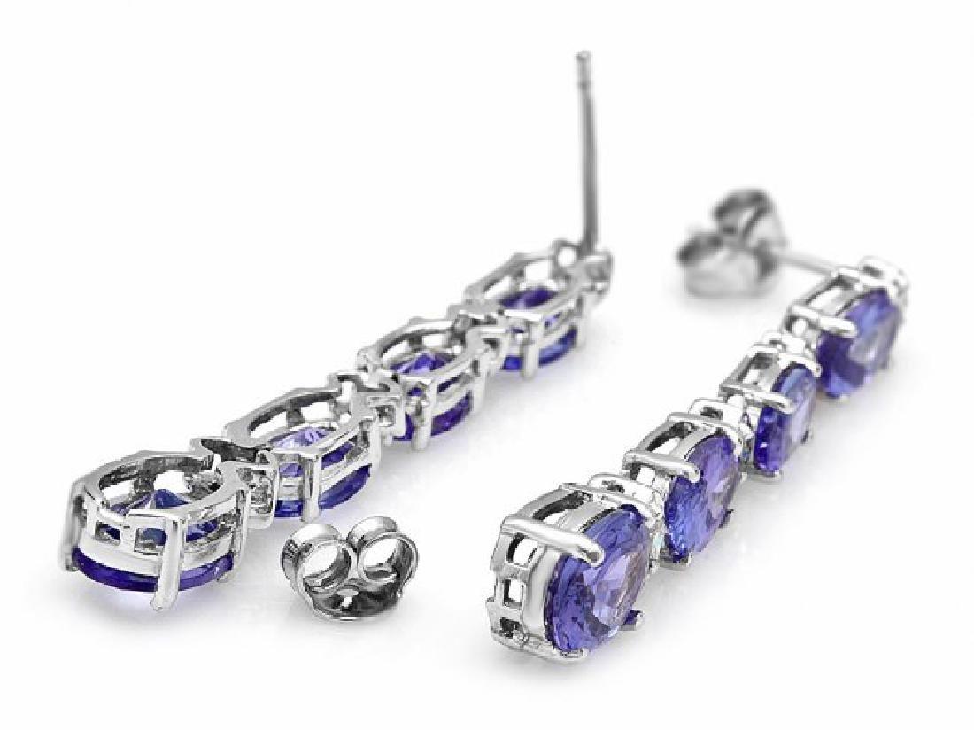 14k Gold 5ct Tanzanite 0.35ct Diamond Earrings - 2