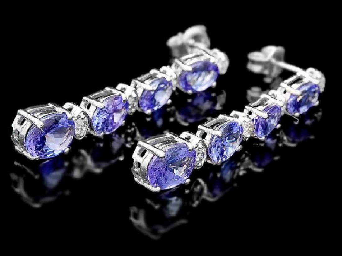 14k Gold 5ct Tanzanite 0.35ct Diamond Earrings - 3