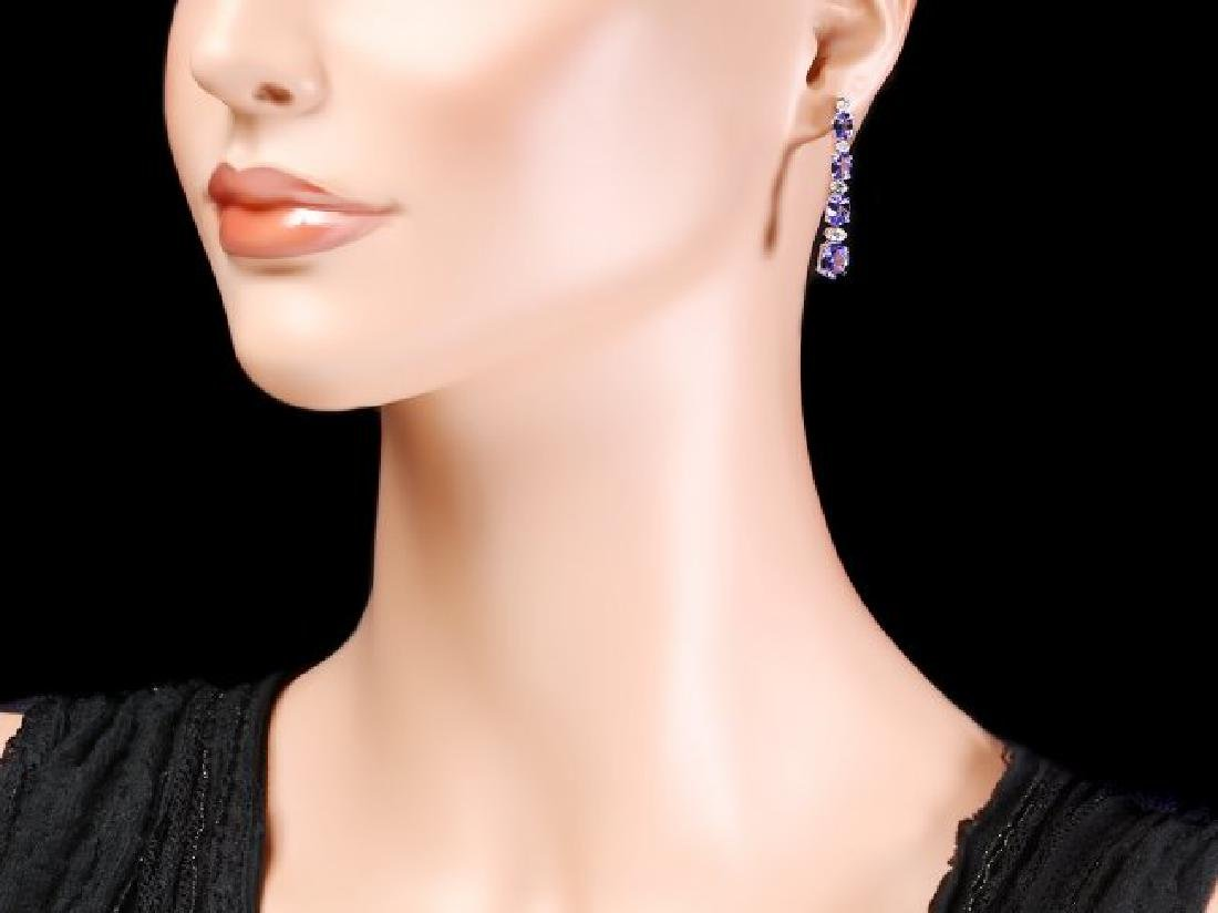 14k Gold 5ct Tanzanite 0.35ct Diamond Earrings - 4