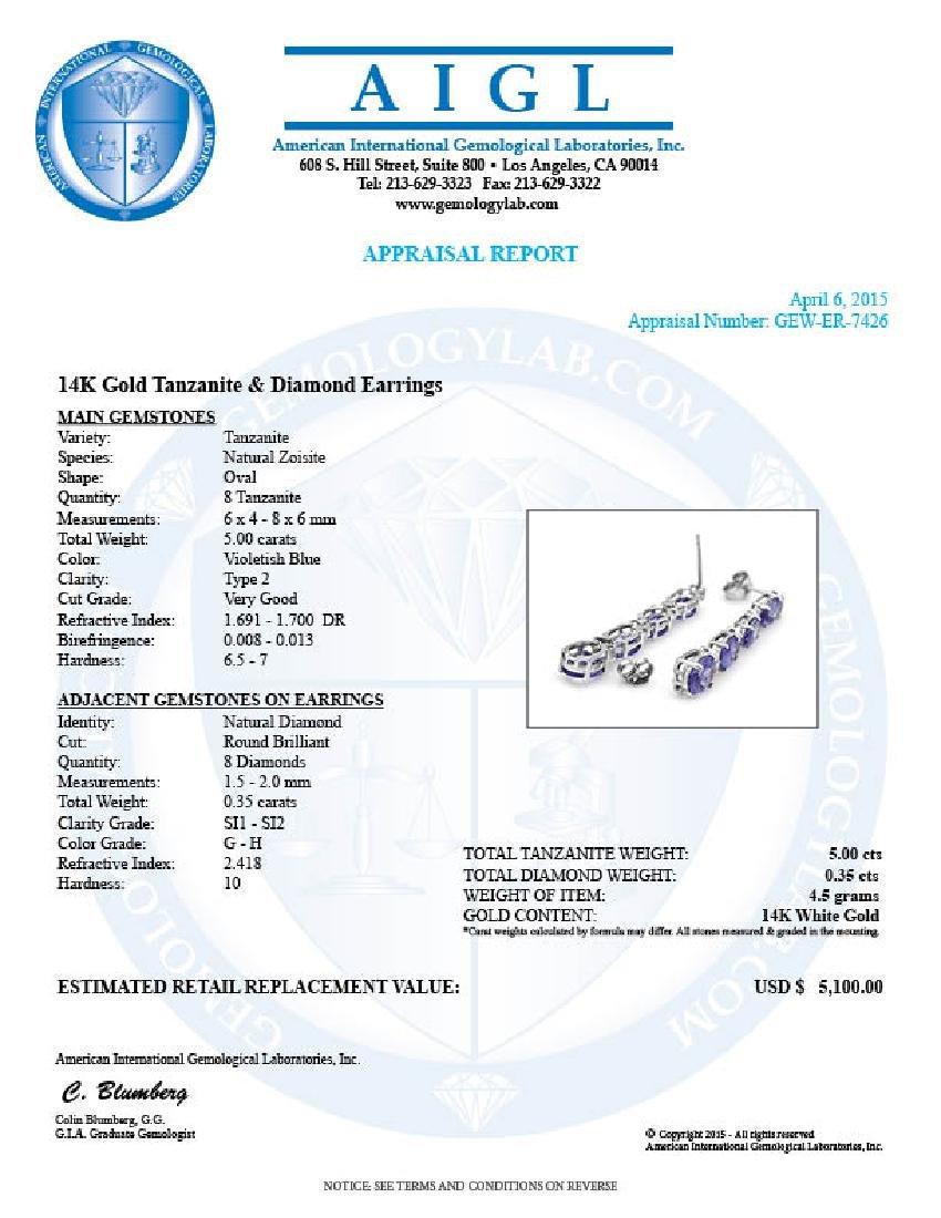 14k Gold 5ct Tanzanite 0.35ct Diamond Earrings - 5