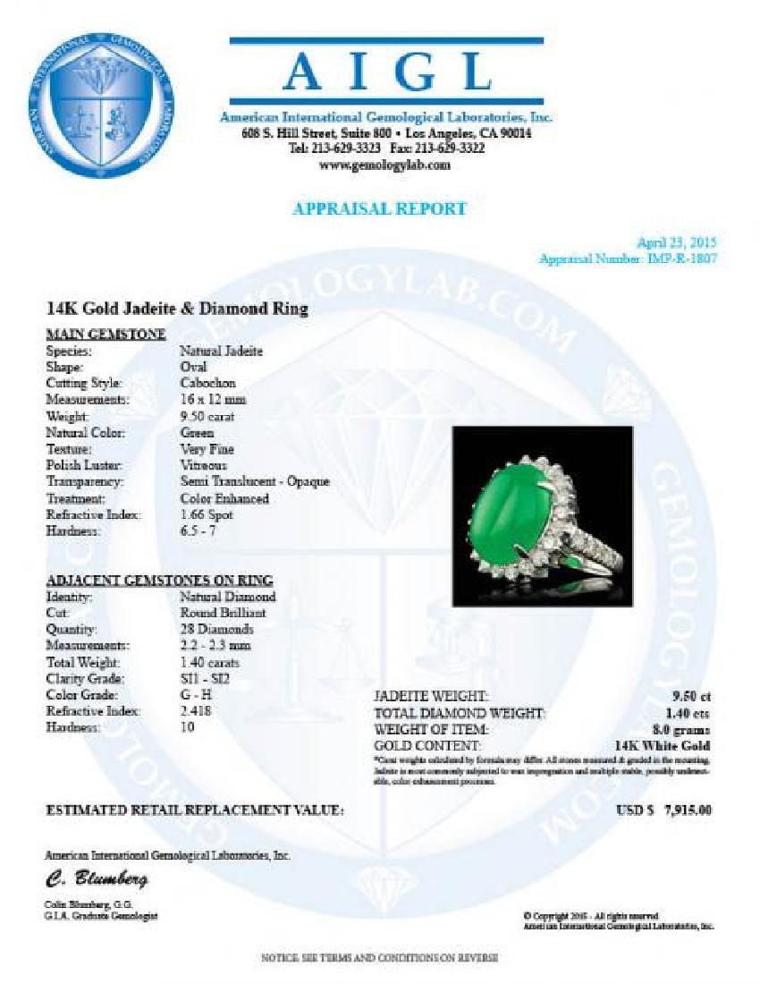 14k White Gold 9.50ct Jade 1.40ct Diamond Ring - 5