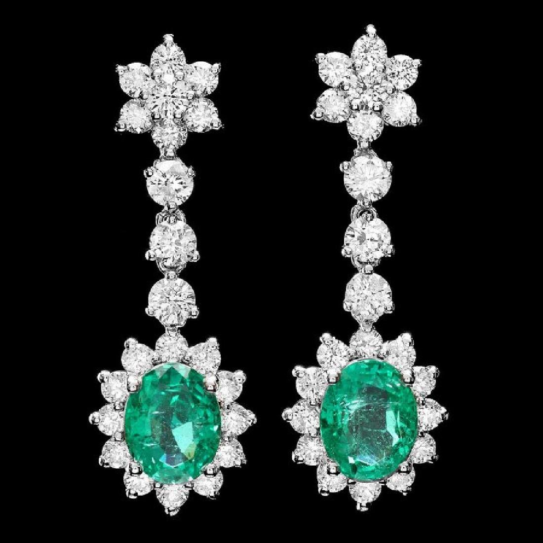 14k Gold 4ct Emerald 3.20ct Diamond Earrings - 3