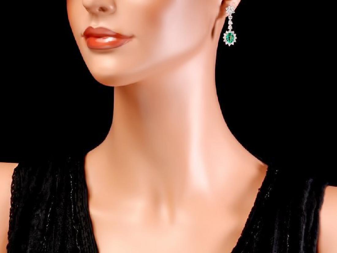 14k Gold 4ct Emerald 3.20ct Diamond Earrings - 4