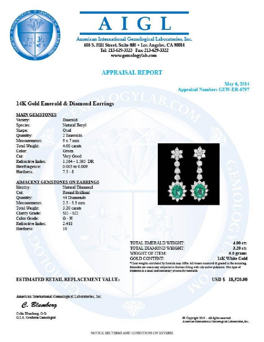 14k Gold 4ct Emerald 3.20ct Diamond Earrings - 5