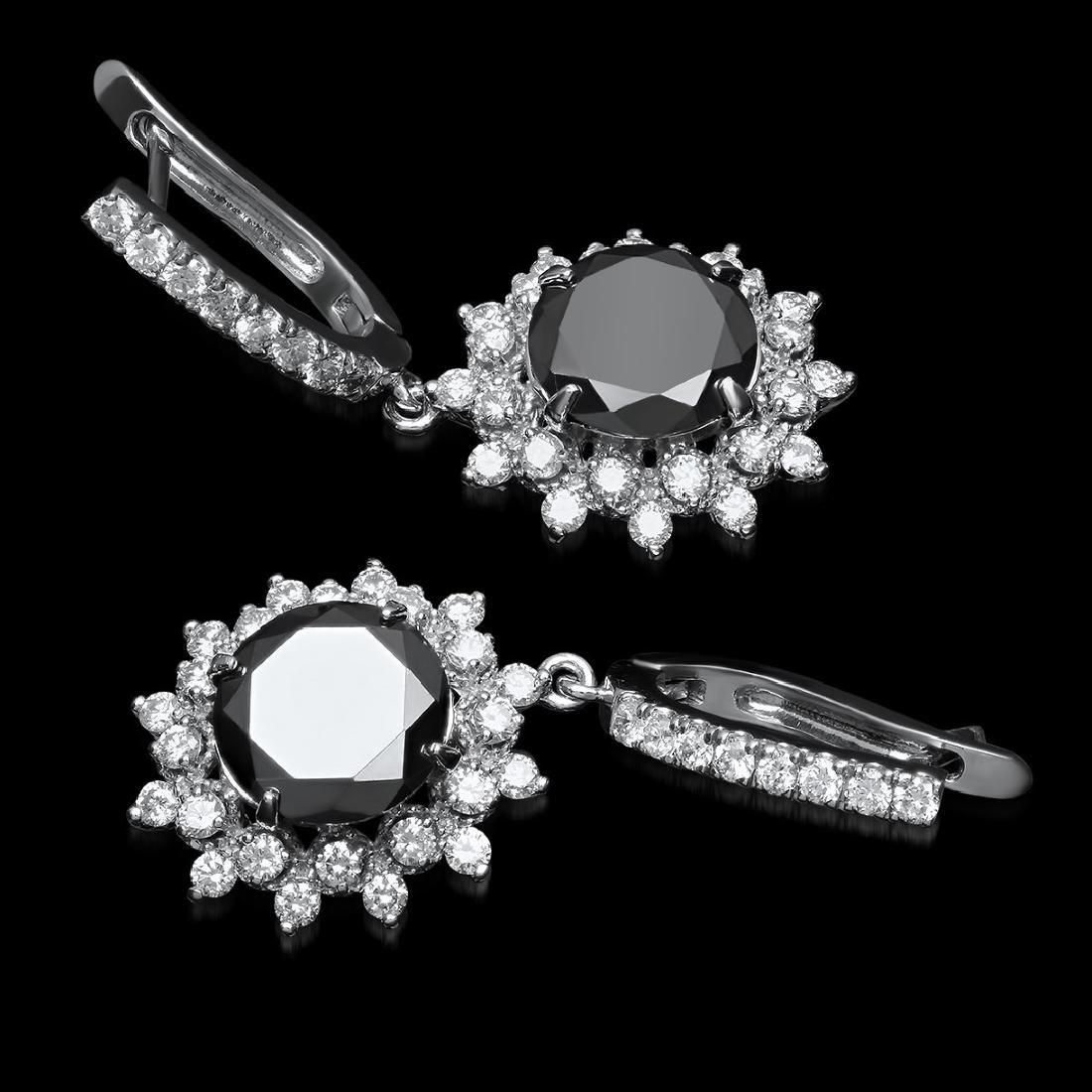 14K White Gold, 9.65cts Diamond Earrings - 2