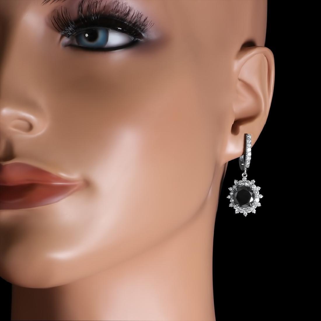 14K White Gold, 9.65cts Diamond Earrings - 3
