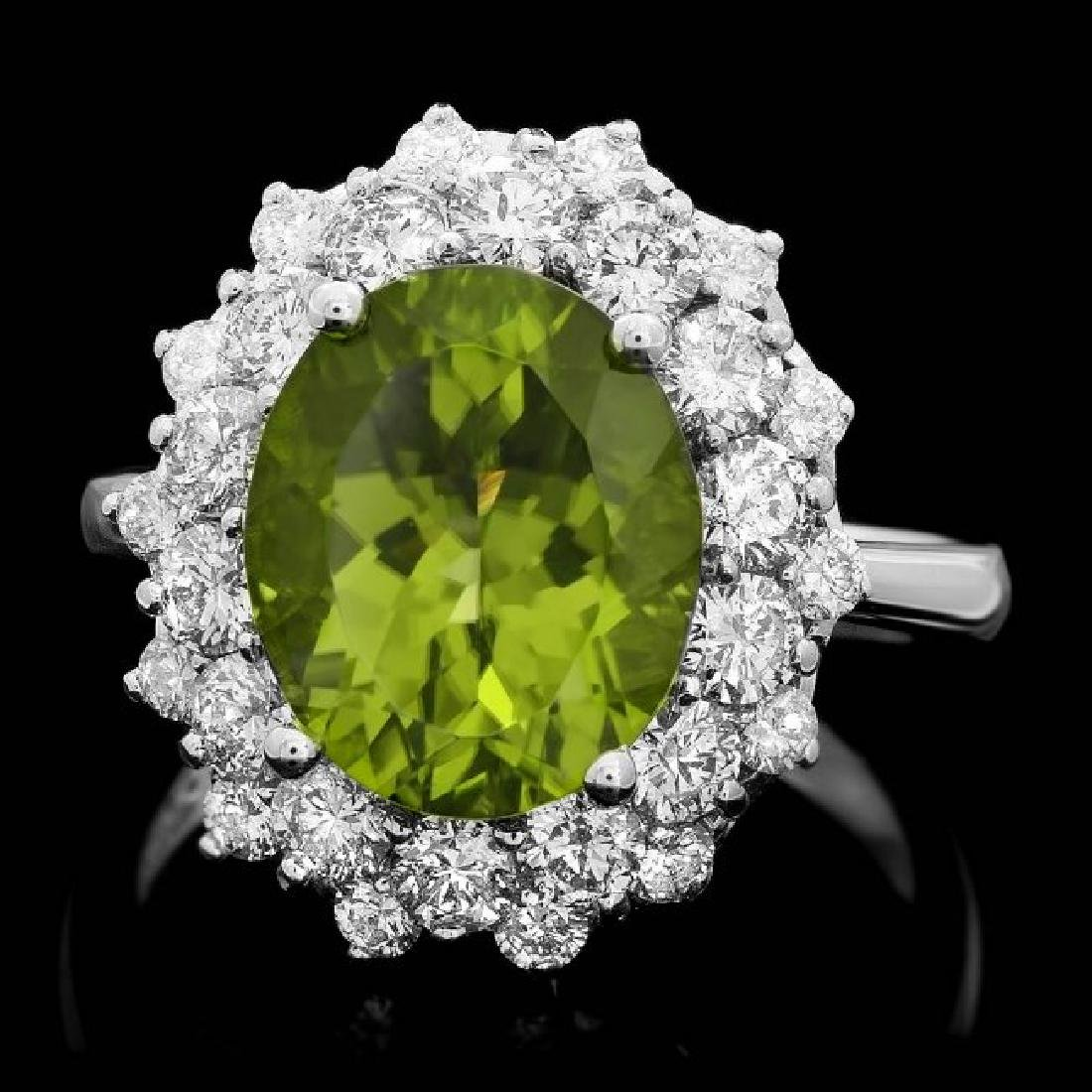 14k White Gold 5.00ct Peridot 1.60ct Diamond Ring