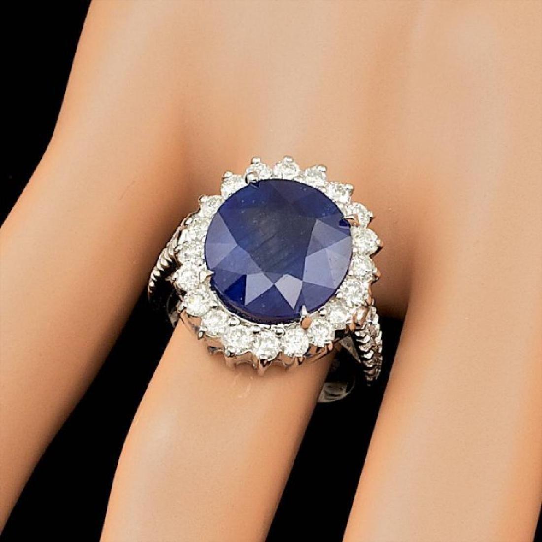 14k Gold 9.50ct Sapphire 1.35ct Diamond Ring - 3
