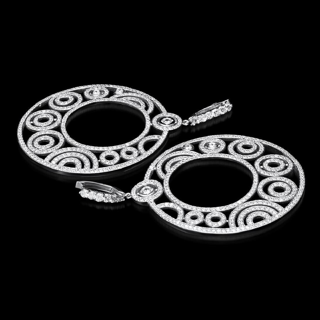 14K White Gold, 14.89cts. Diamond Earrings - 2