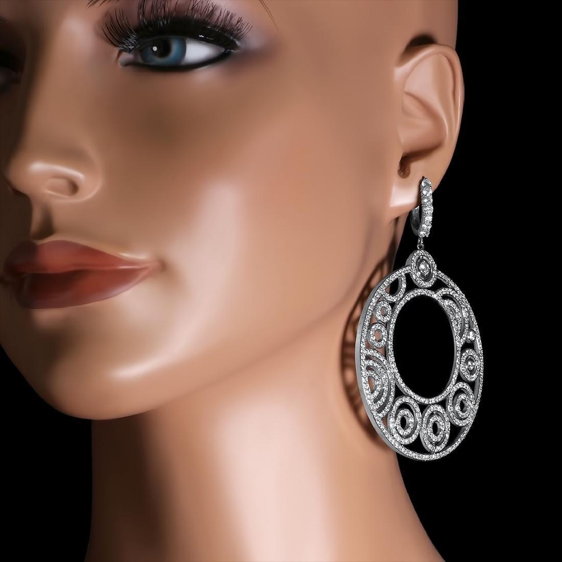 14K White Gold, 14.89cts. Diamond Earrings - 3