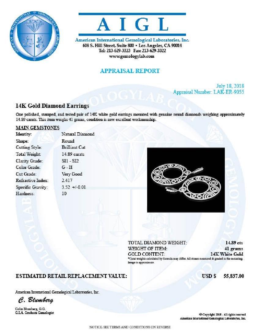 14K White Gold, 14.89cts. Diamond Earrings - 4