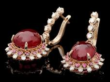 14k Rose Gold 238ct Ruby 150ct Diamond Earrings