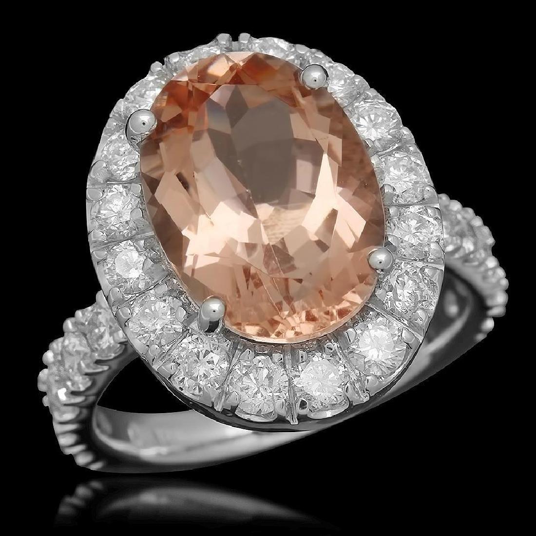 14K Gold 5.84ct Morganite 1.81ct Diamond Ring