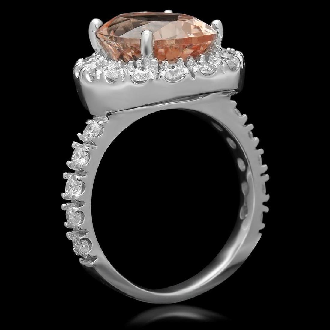14K Gold 5.84ct Morganite 1.81ct Diamond Ring - 2