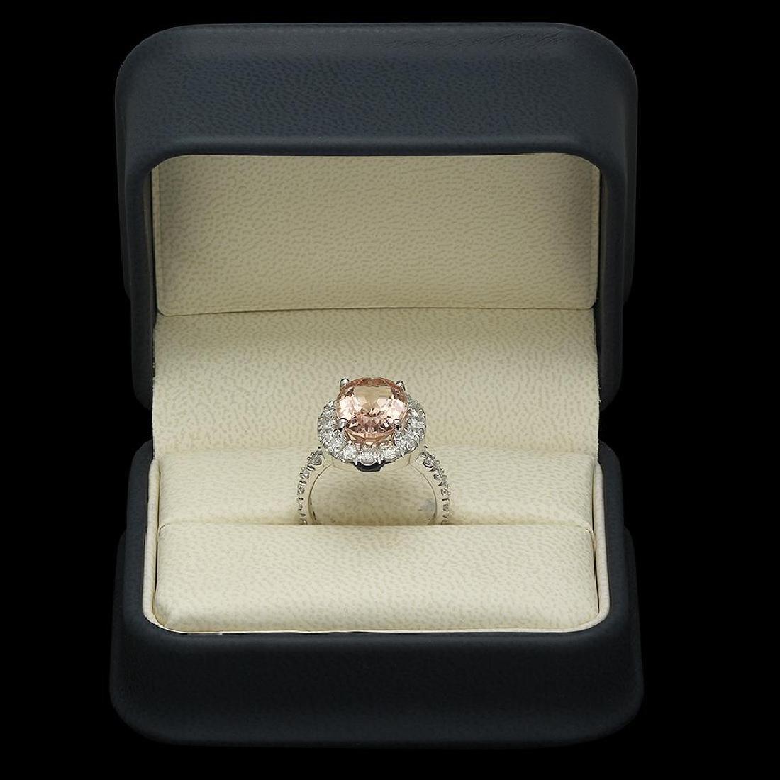 14K Gold 5.84ct Morganite 1.81ct Diamond Ring - 4