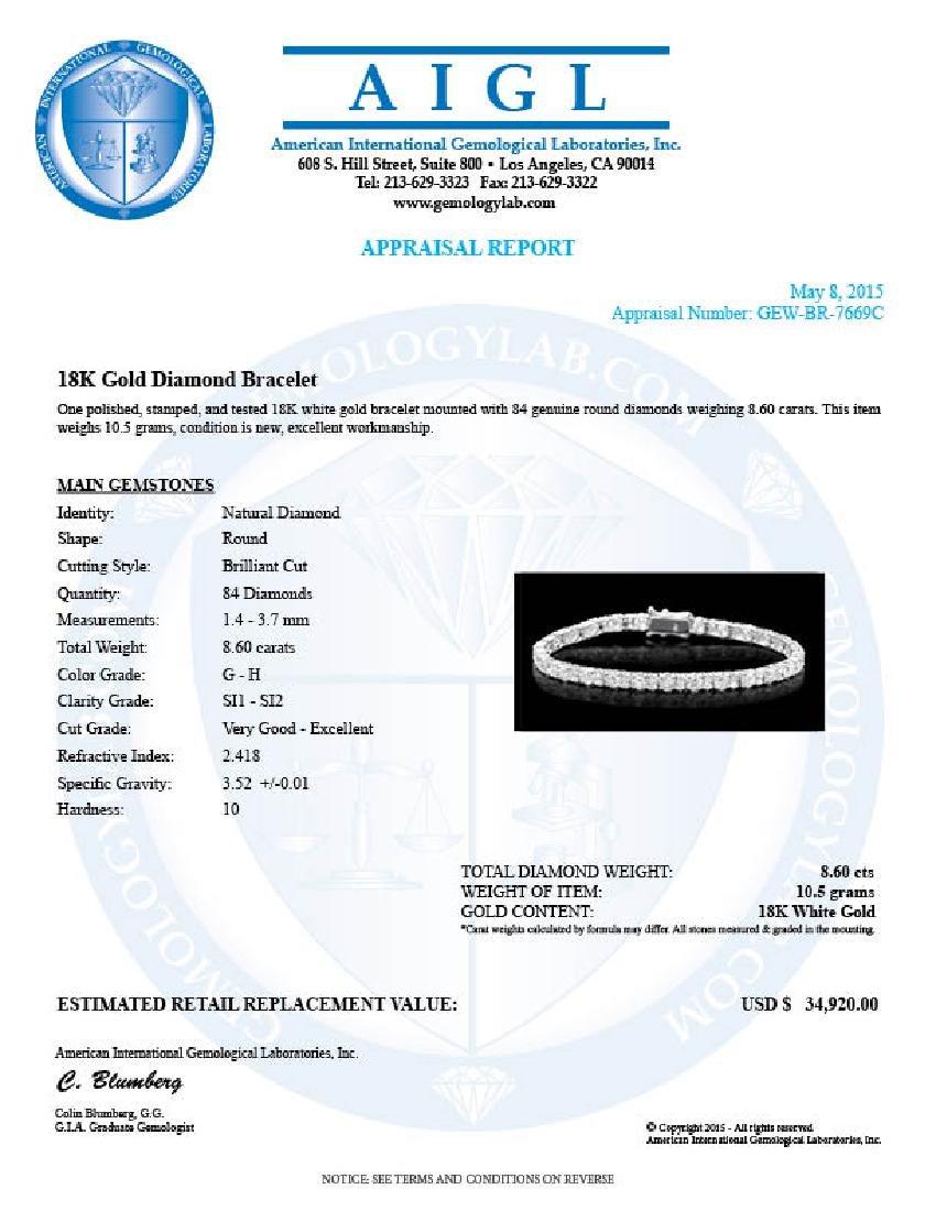 18k White Gold 8.60ct Diamond Bracelet - 6