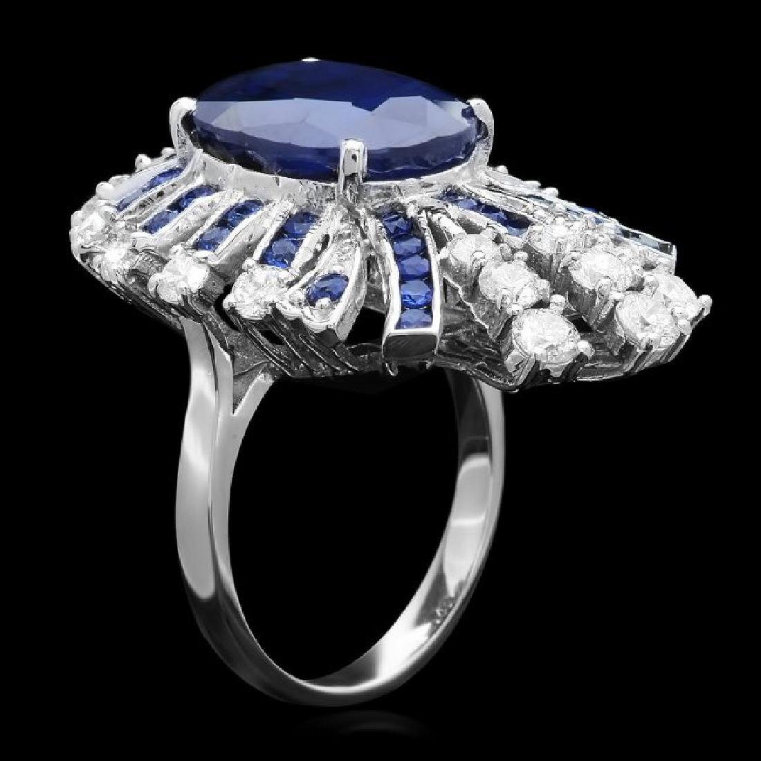 14k White Gold 11ct Sapphire 1.70ct Diamond Ring - 2