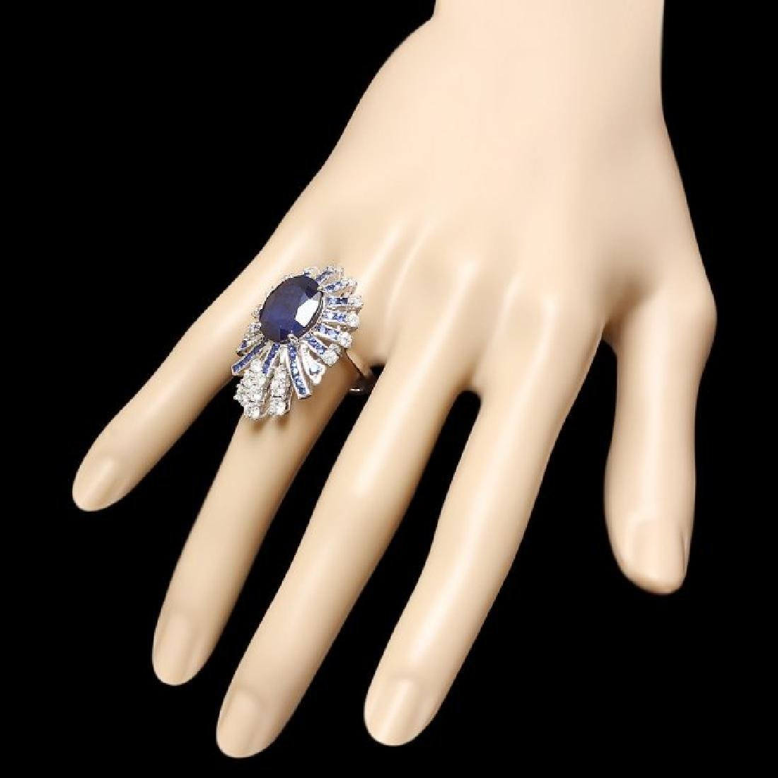 14k White Gold 11ct Sapphire 1.70ct Diamond Ring - 3