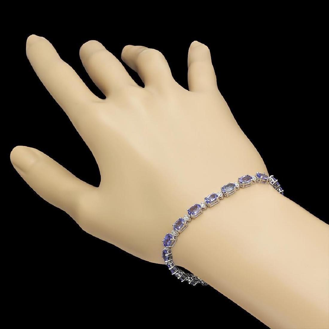 14K Gold 9.34ct Tanzanite 0.40ct Diamond Bracelet - 2