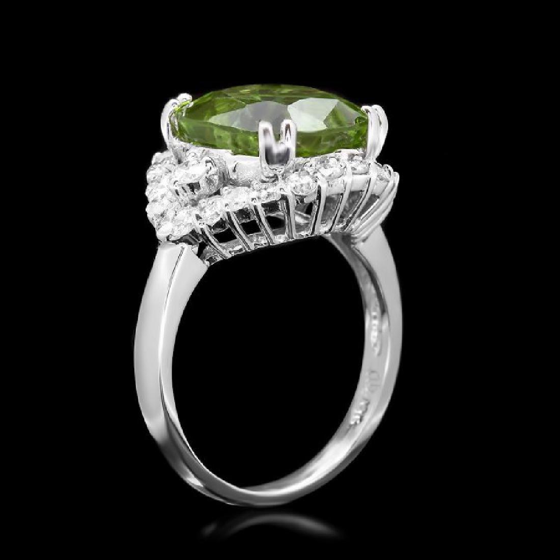 14k White Gold 7.50ct Peridot 1.20ct Diamond Ring - 3