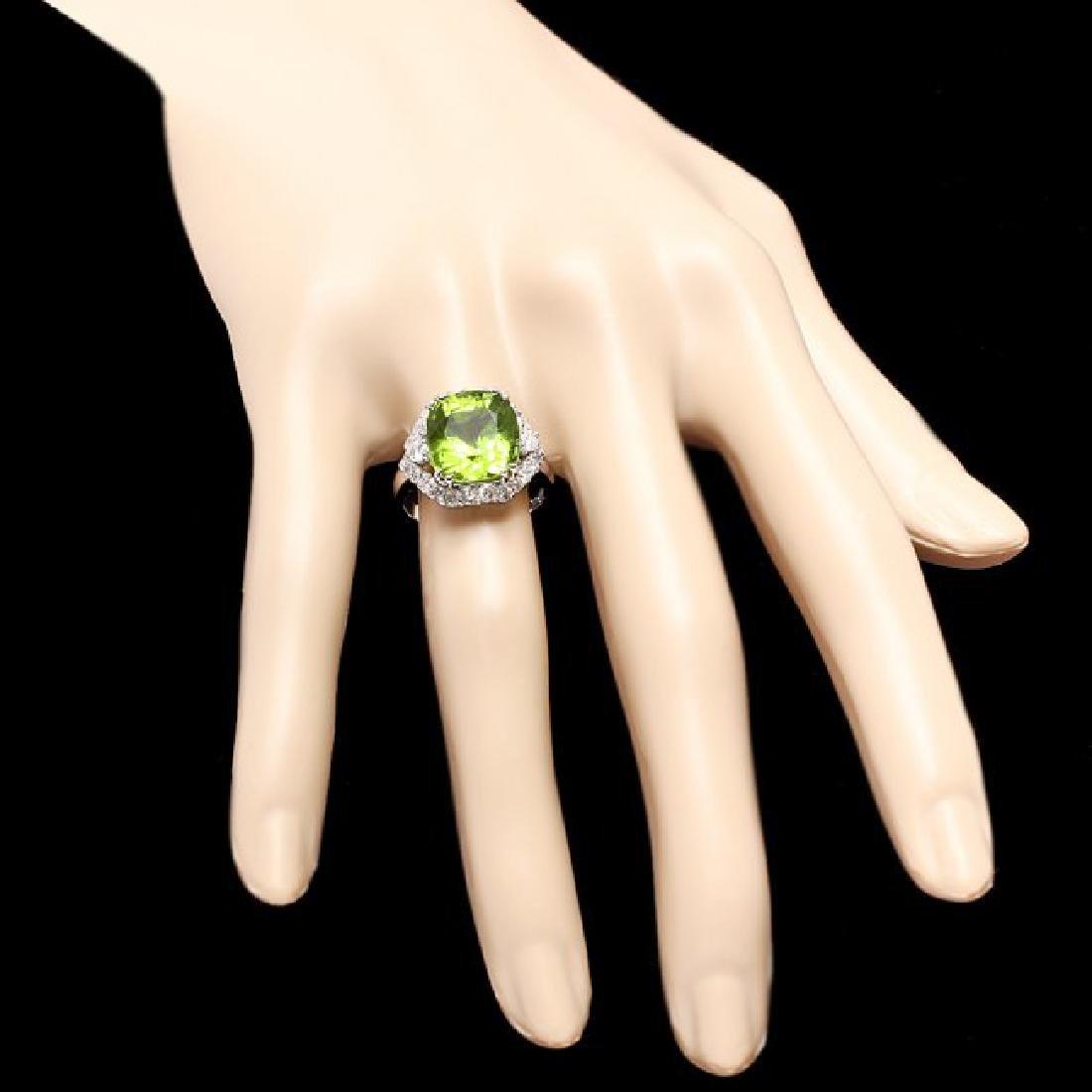 14k White Gold 7.50ct Peridot 1.20ct Diamond Ring - 4