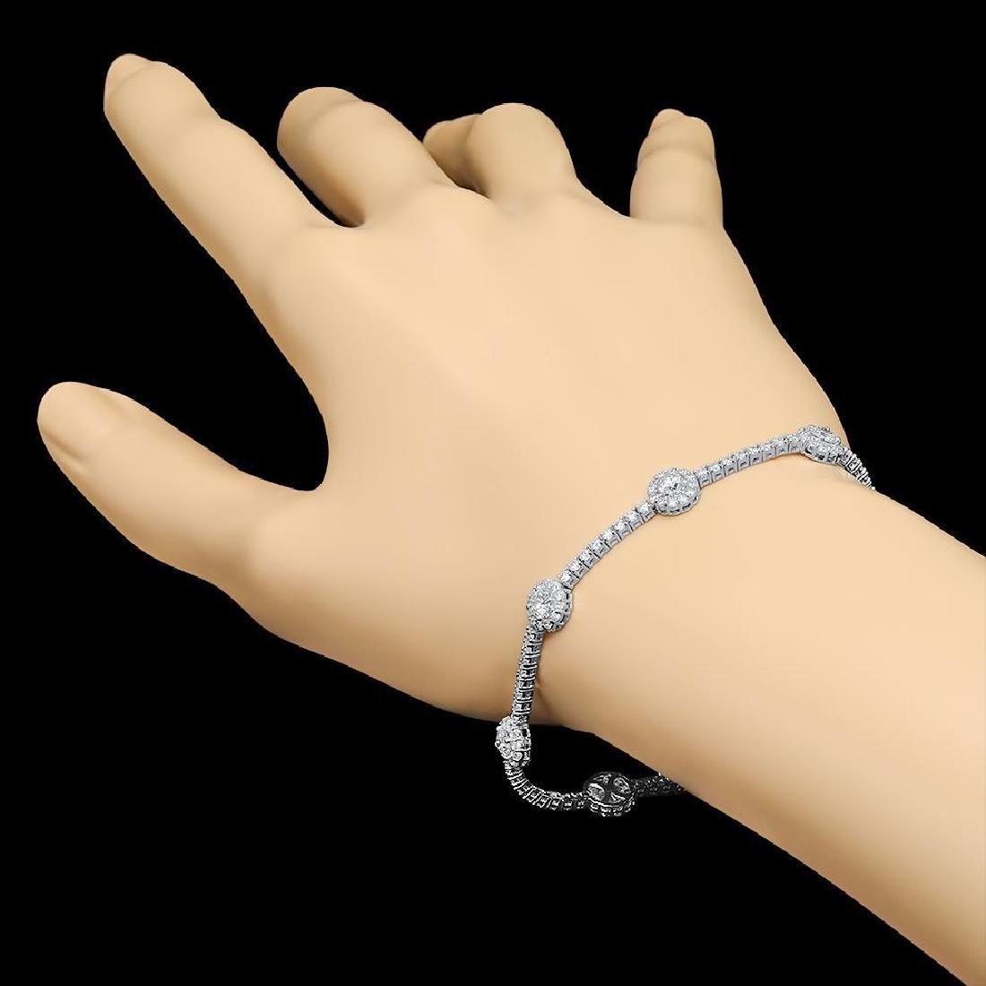 18k White Gold 5.95ct Diamond Bracelet - 2